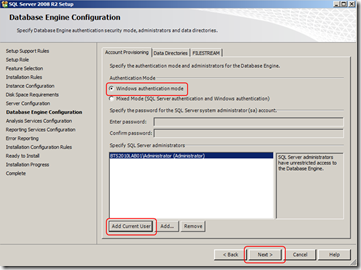 install-sql-Database-Engine-Configuration-screen