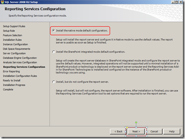 install-sql-Reporting-Services-Configuration-screen