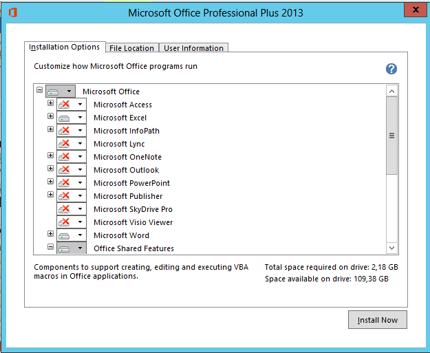 Biztalk 2013 installation and configuration install for Office configuration