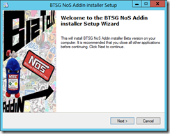 BTSG-NoS-Addin-Welcome-Installer-Setup-screen