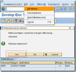 SAP-Set-release-custom-segment