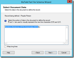 11-BizTalk-Flat-File-Schema-Wizard-Select-Document-Data-Page-line-select
