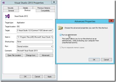 Visual-Studio-run-as-administrator-advance-properties